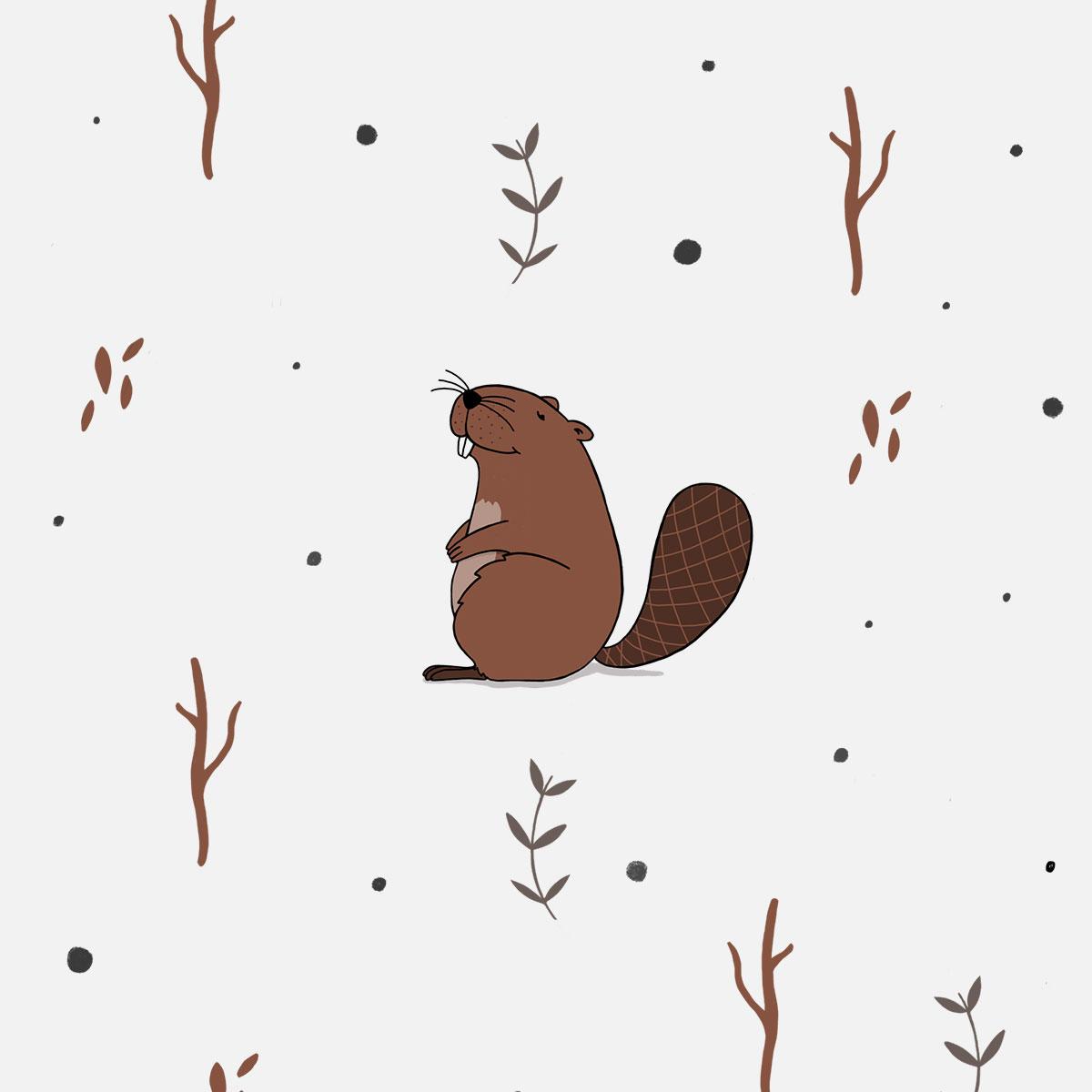 Illustration Waldtiere - Biber