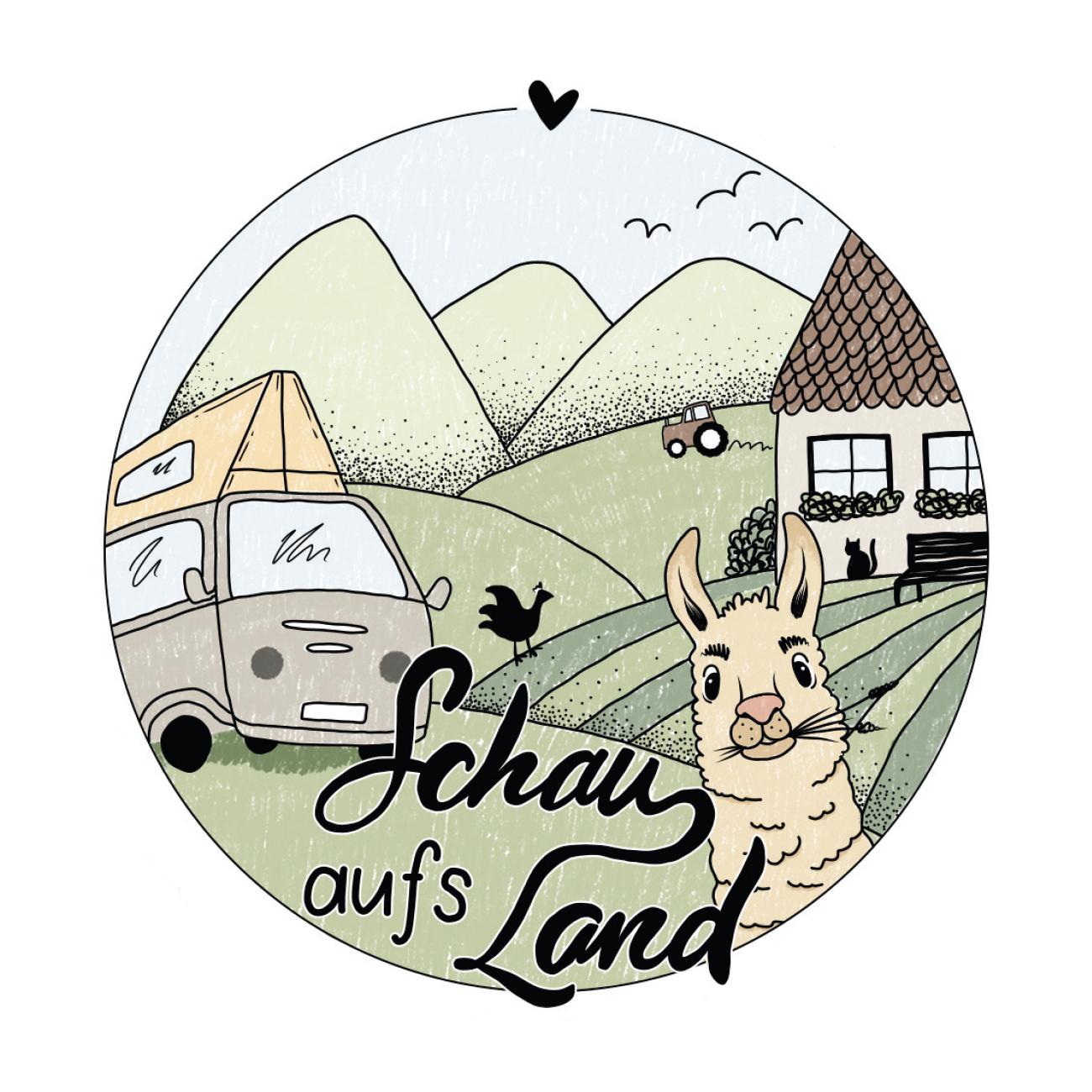 Schau aufs Land Stickerdesign