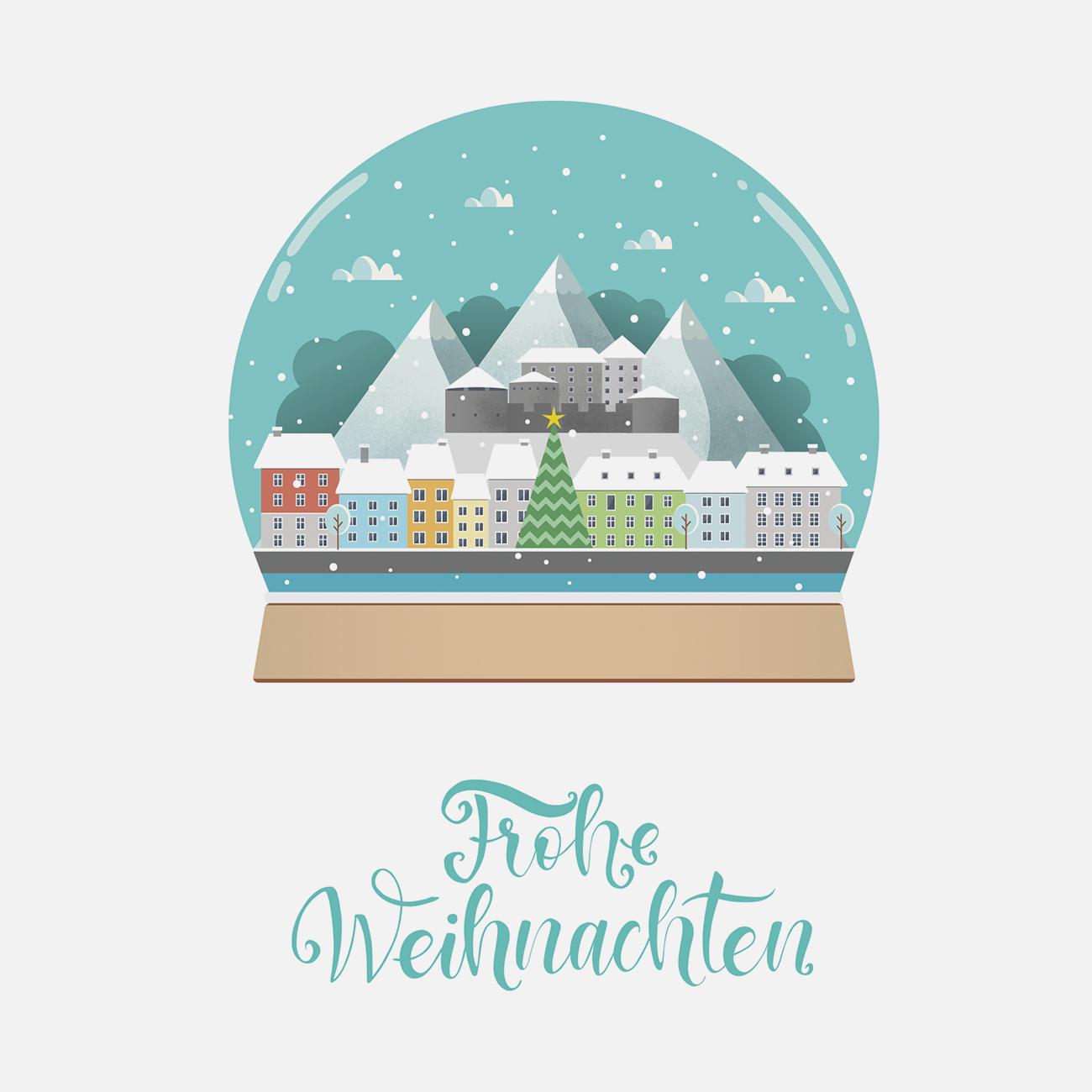 Weihnachtskarte Bürgermeister Kufstein Cover Schneekugel