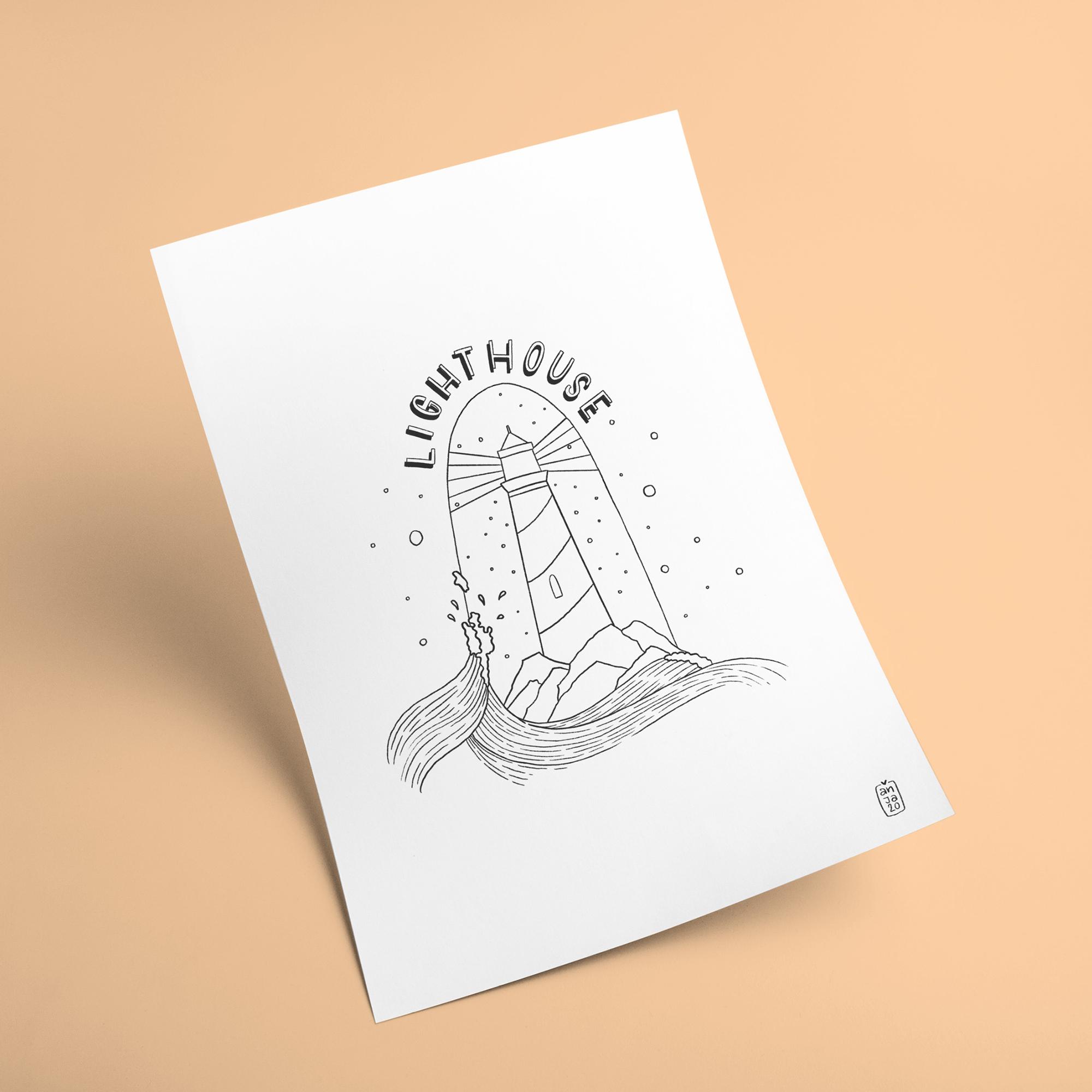 """Ausmalbild """"Lighthouse"""""""
